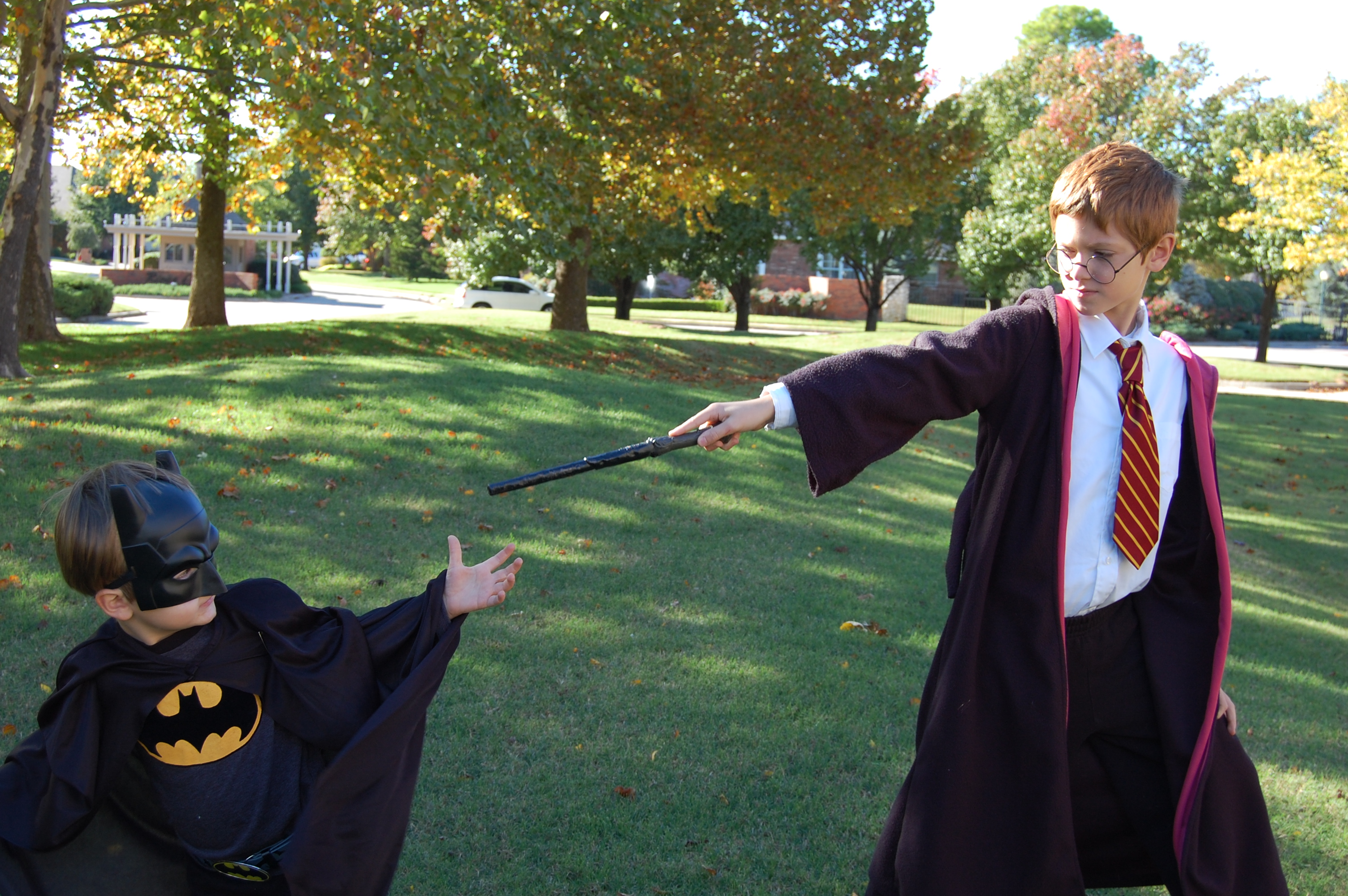 Bat Man and Harry Potter Halloween costumes