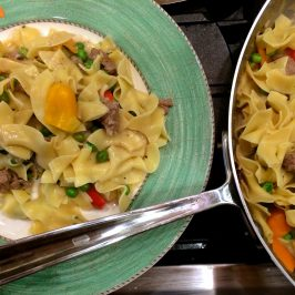 Easy Beef Stroganoff with Peppers and Leeks