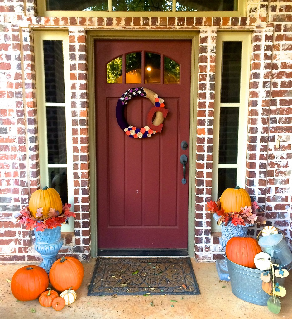 burlap and fall yarn wreath